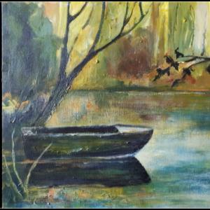 Old-Rowboat acrylic painting Canada