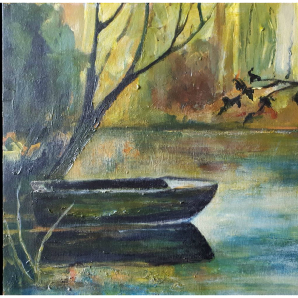 Old-Rowboat acrylic painting Canada