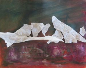 torn tissue collage on painting
