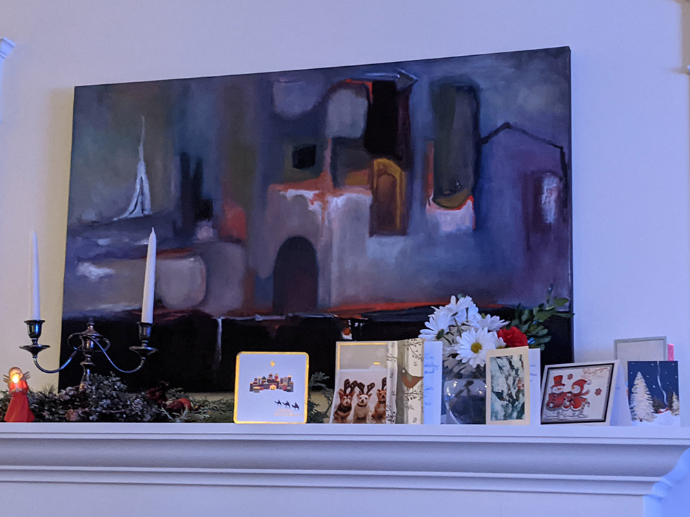 mantel painting by Chris Marin